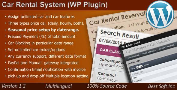 Car Rental System (WordPress Plugin)