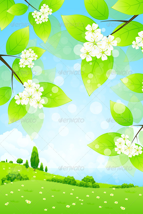 GraphicRiver Landscape with Tree Branch 4562026