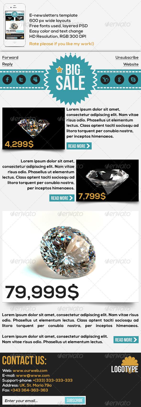 GraphicRiver Diamonder E-newsletters Template 4498477