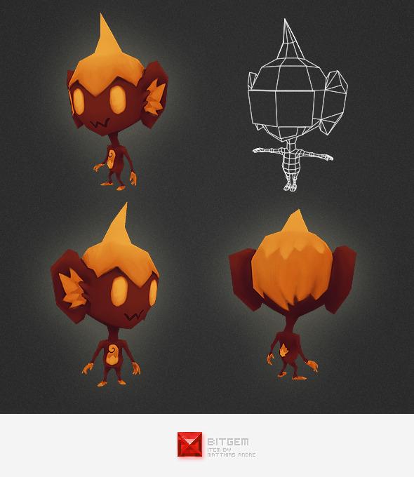 3DOcean Low Poly Fire Alien 4562212