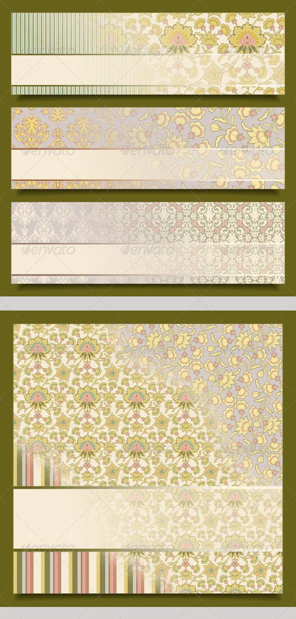 GraphicRiver Vintage Floral Banners Retro Pattern Design Set 4562455