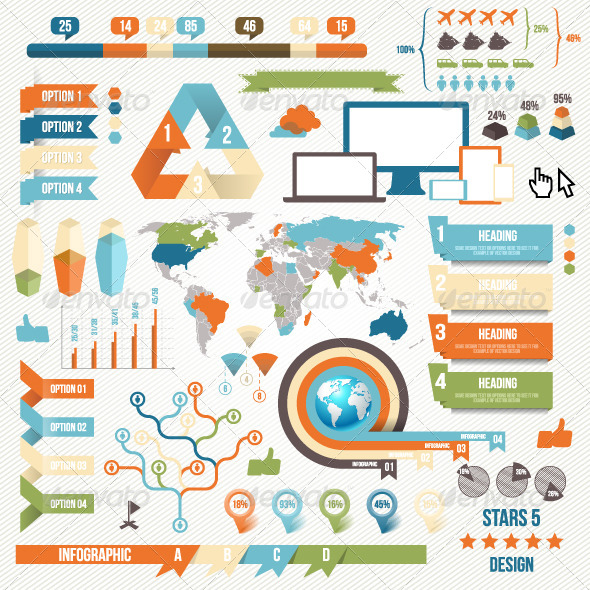 Infographic Elements and Communication Concept - Decorative Symbols Decorative