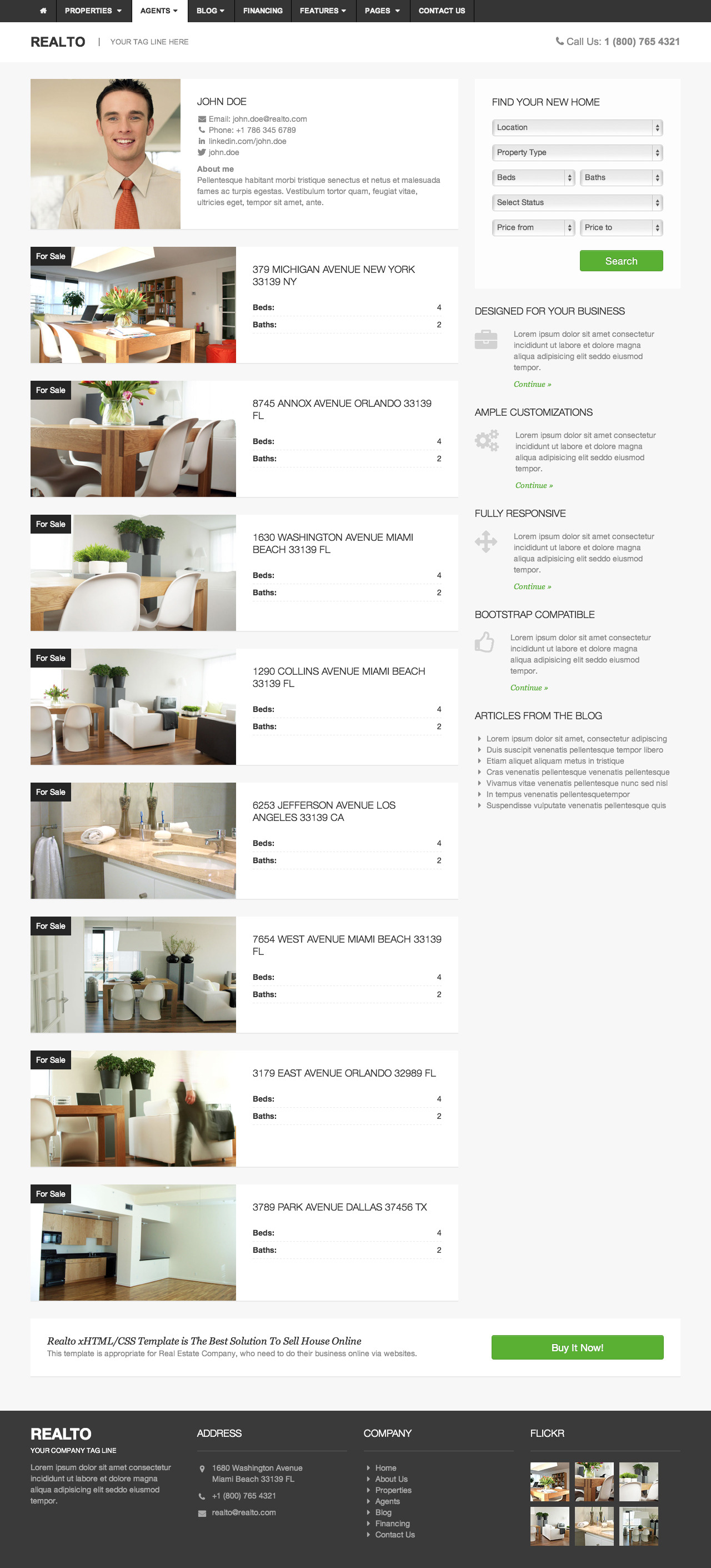 Realto - Real Estate Template - Bootstrap Based