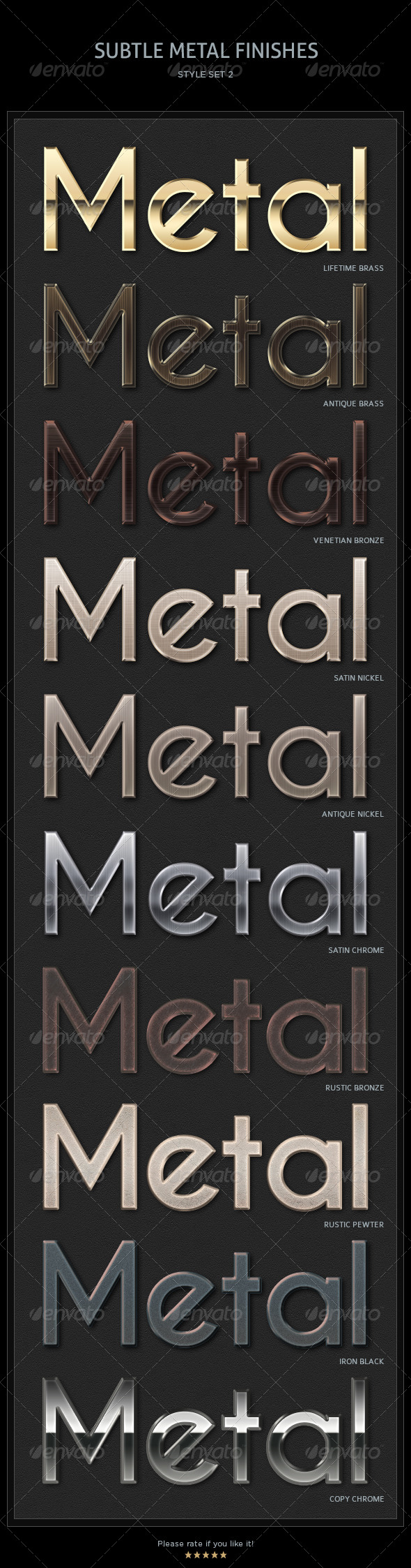 GraphicRiver 10 Subtle Metal Finishes Text Styles 4563594