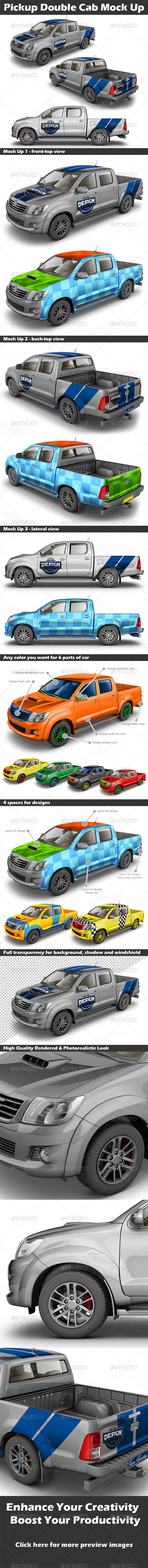 GraphicRiver Pickup Double Cab Mock Up 4564263