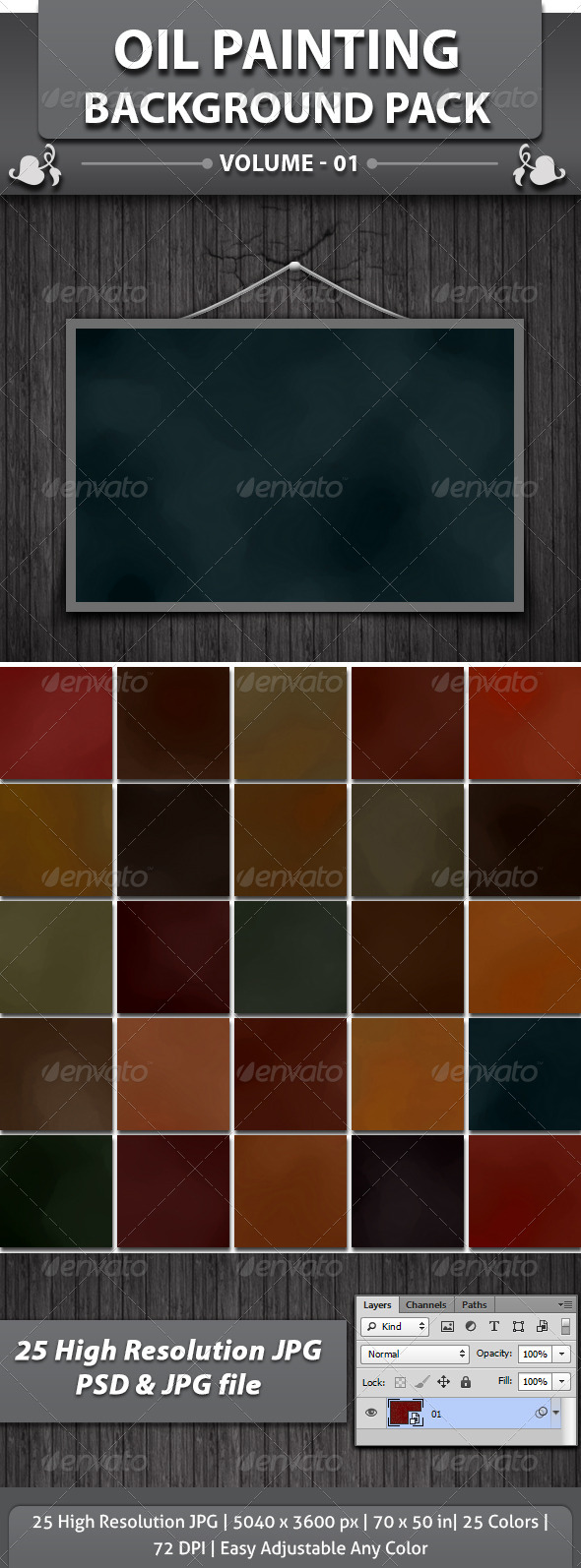 GraphicRiver 25 Oil Painting Background Pack 4564336