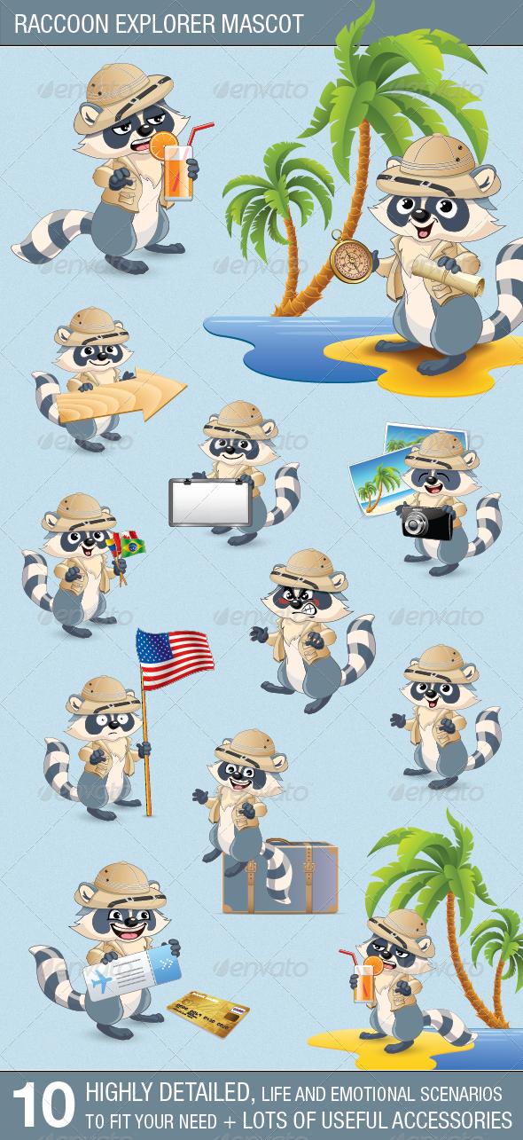 GraphicRiver Raccoon Explorer Mascot 4564360