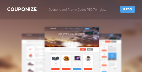 ThemeForest Couponize Coupons and Promo Codes PSD Template 4367571