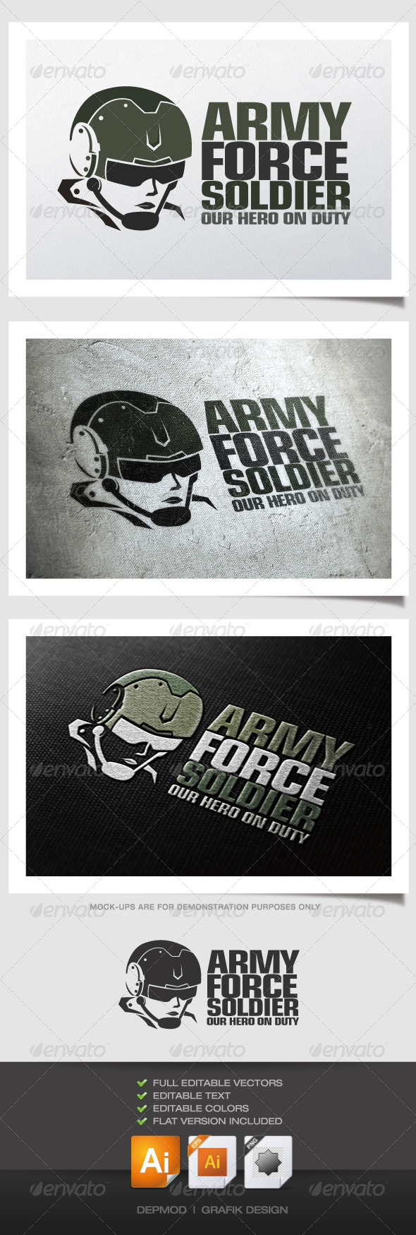 GraphicRiver Army Force Soldier Logo 4565509
