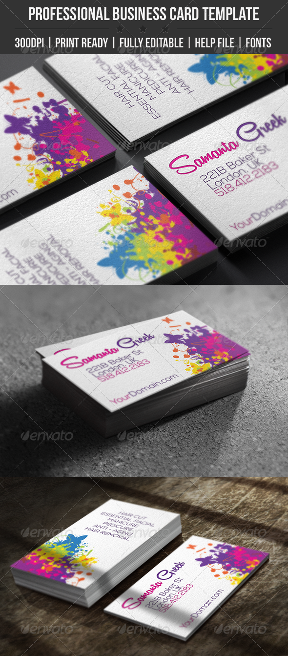 GraphicRiver Colorful Life Elegant Business Card 4490646