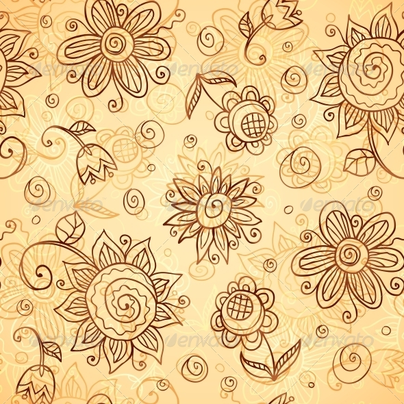 Ornate Vector Doodle Flowers Seamless Pattern