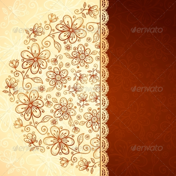 GraphicRiver Lacy Vintage Flowers Vector Background 4565989