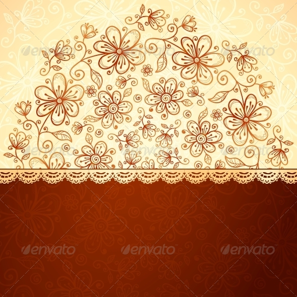 GraphicRiver Lacy Vintage Flowers Vector Background 4565990