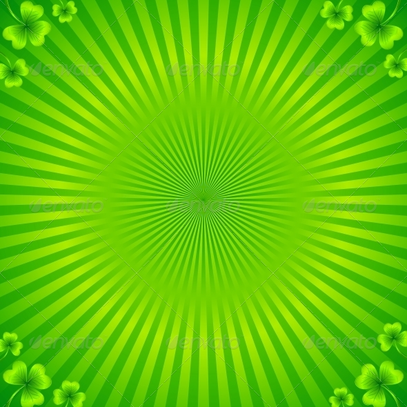 GraphicRiver Green Radial Stripes Background with Clovers 4566049