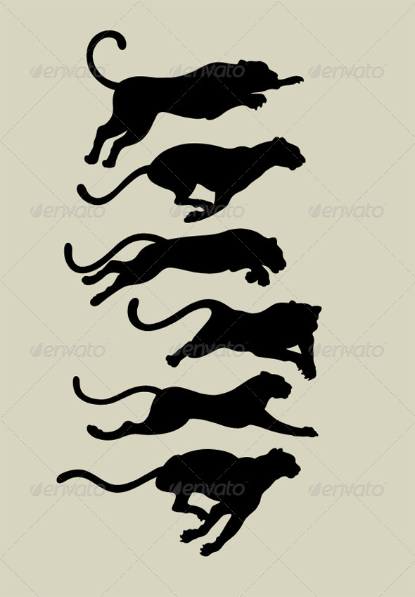 GraphicRiver Leopard Running Silhouettes 4566069