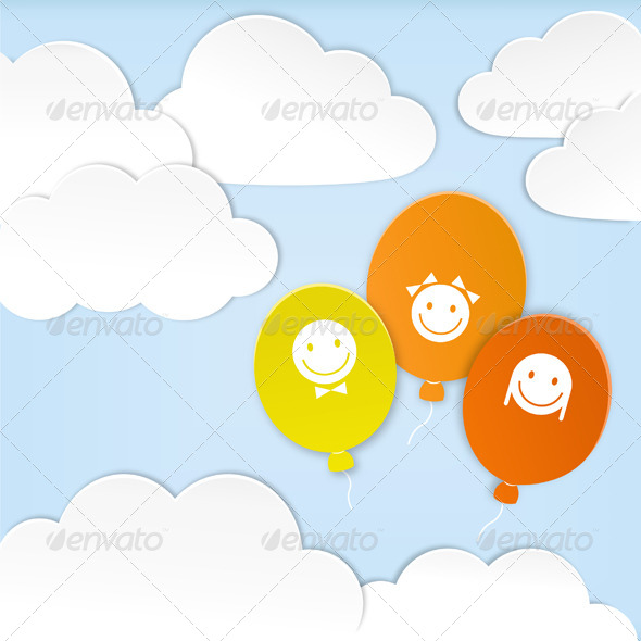 GraphicRiver Paper Clouds with Balloons 4566396