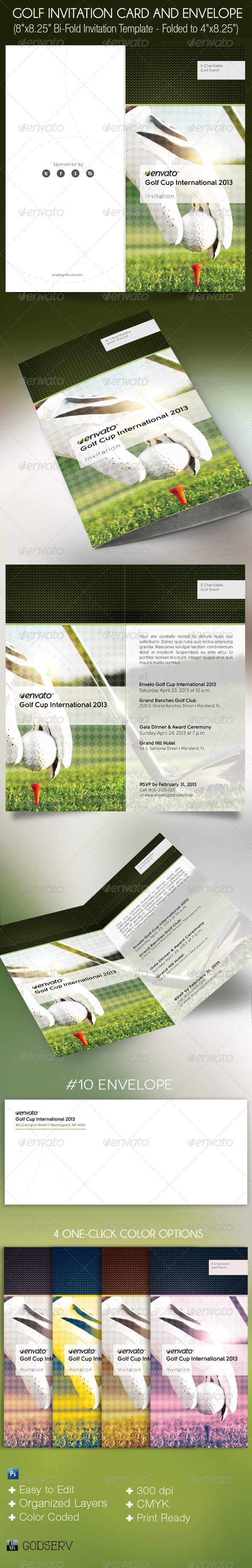 Golf Invitation Card and Envelope Template - Invitations Cards & Invites
