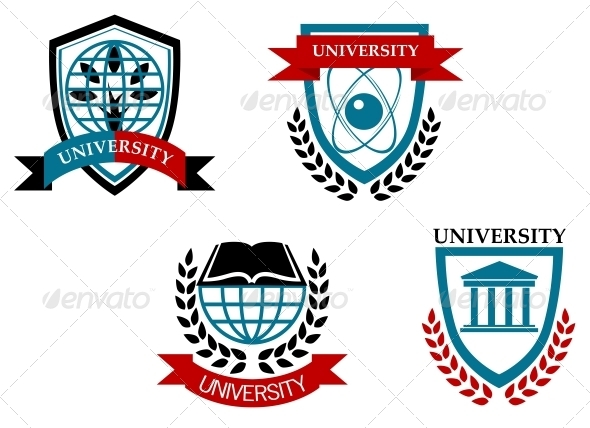 Set of University and Education Emblems - Decorative Symbols Decorative