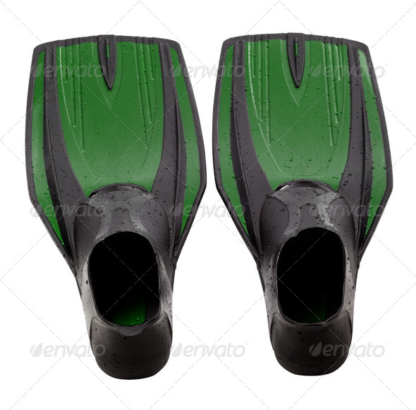 Green swim fins - Stock Photo - Images