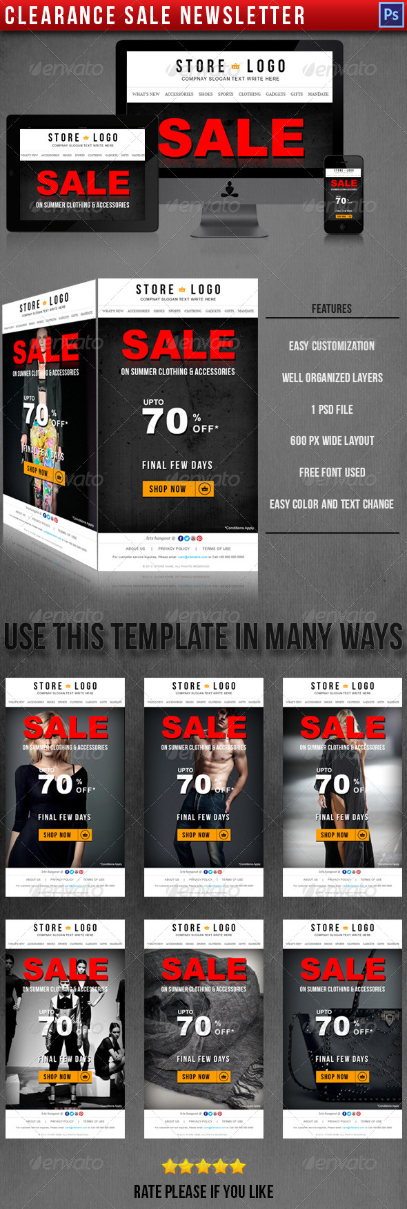 GraphicRiver Clearance Sale Newsletter E-commerce Template 4567705