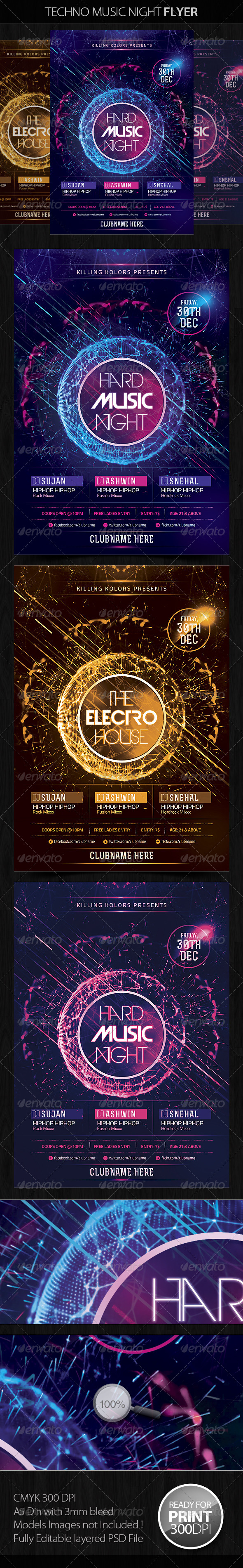Techno Music Night Flyer - Flyers Print Templates