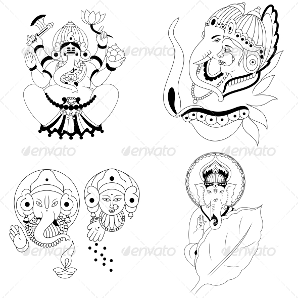 GraphicRiver Ganesha Religious Vector Designs Pack 4567962
