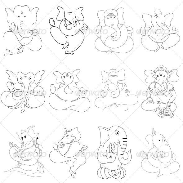 GraphicRiver Ganesha Religious Vector Designs Pack 4567970