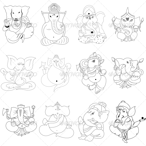 GraphicRiver Ganesha Religious Vector Designs Pack 4567985