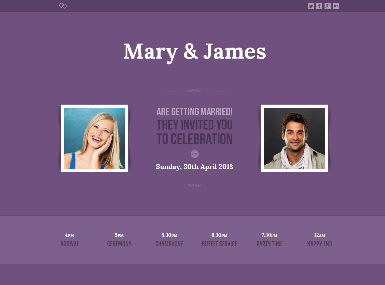 Lavender - One Page Wedding Template