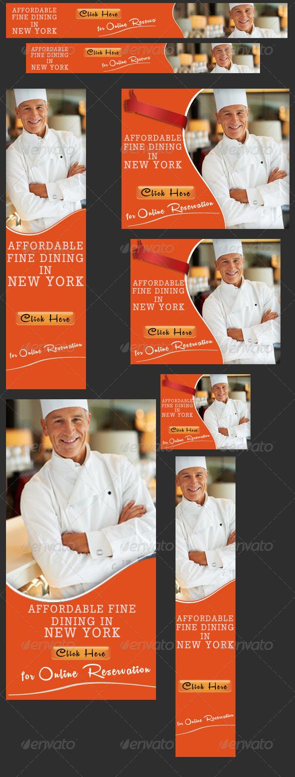 GraphicRiver Restaurant Banner Set 3717876