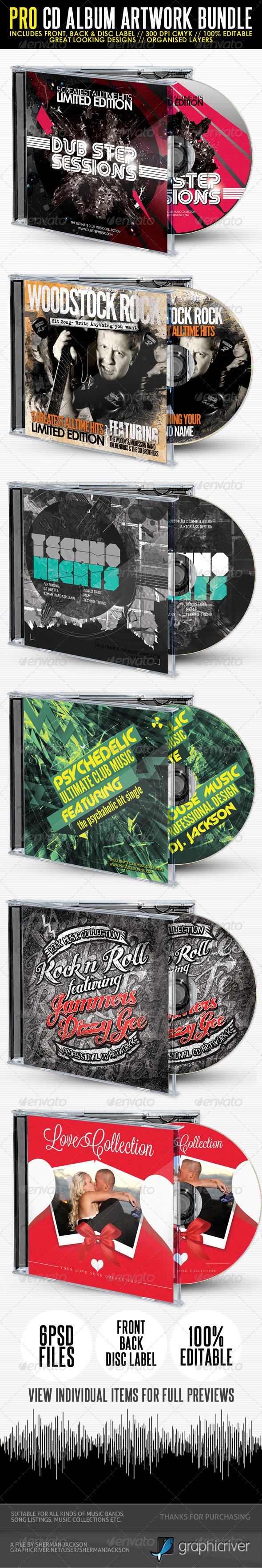 Pro CD Artwork Bundle Package V.1 - CD & DVD Artwork Print Templates