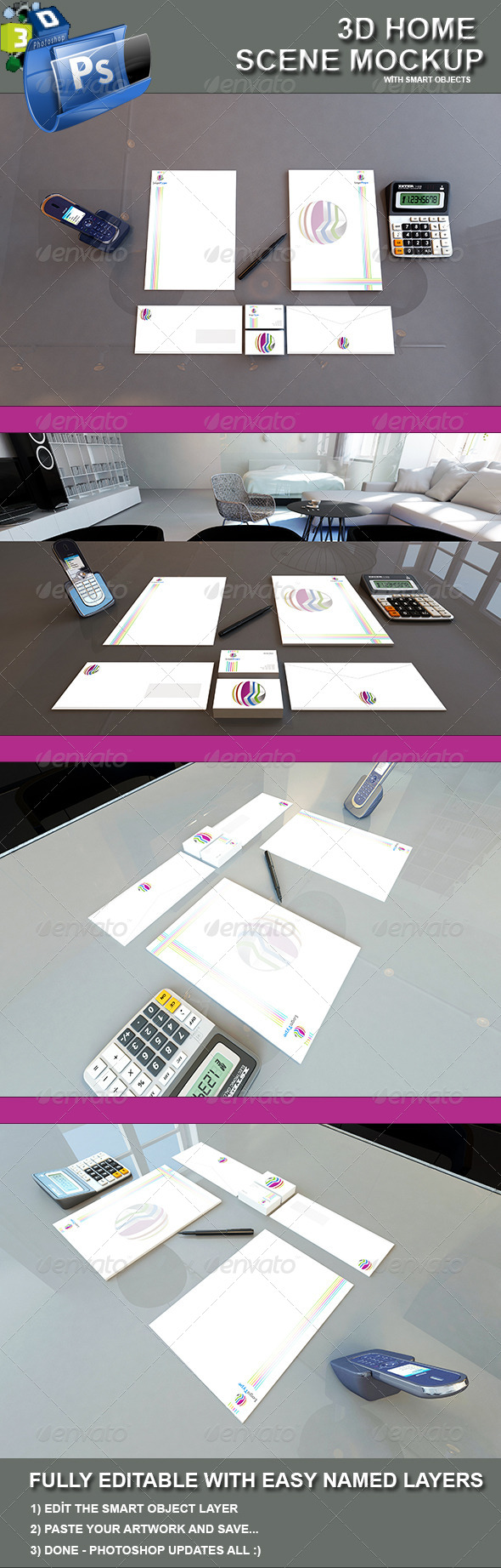 GraphicRiver 3D Identity Scene Mockup 4569964
