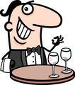 waiter in restaurant cartoon illustration