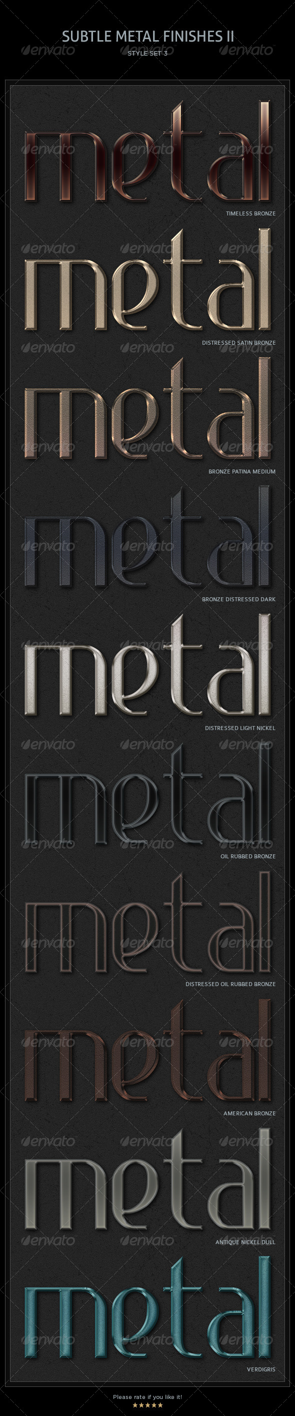 10 Subtle Metal Finishes II Text Styles - Text Effects Styles
