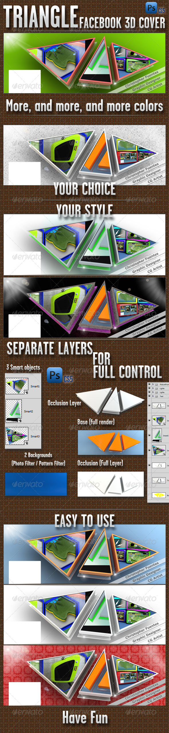 GraphicRiver Triangles Fb 3D Cover 4571204