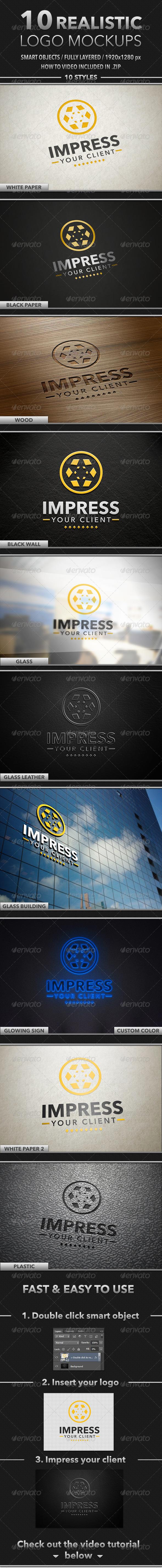 GraphicRiver 10 Realistic Logo Mockups 4486983