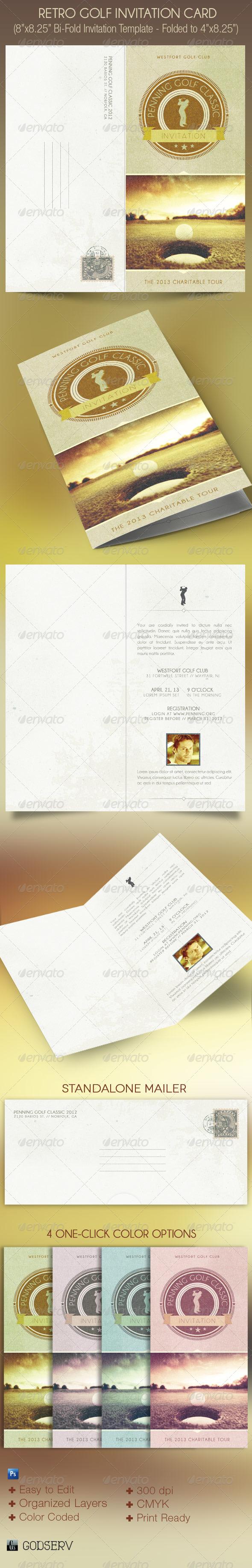 GraphicRiver Retro Golf Invitation Card Template 4571443