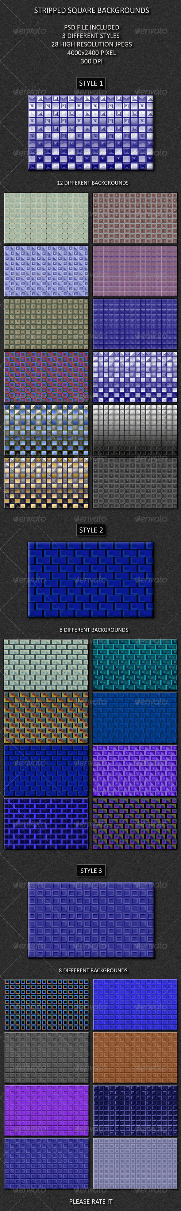 GraphicRiver Striped Square Backgrounds 4484007