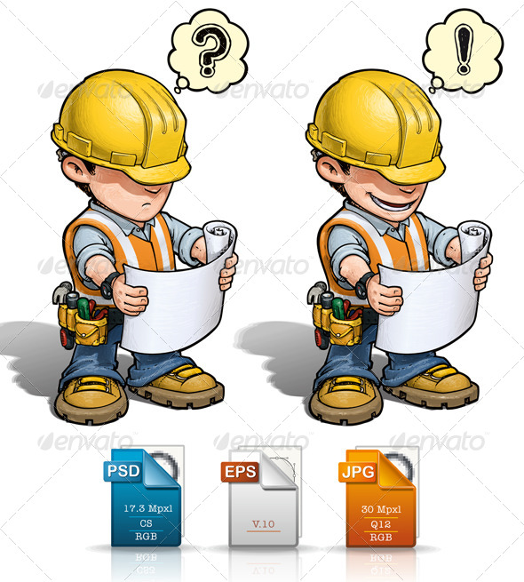 GraphicRiver Construction Worker Reading Plan 4572993