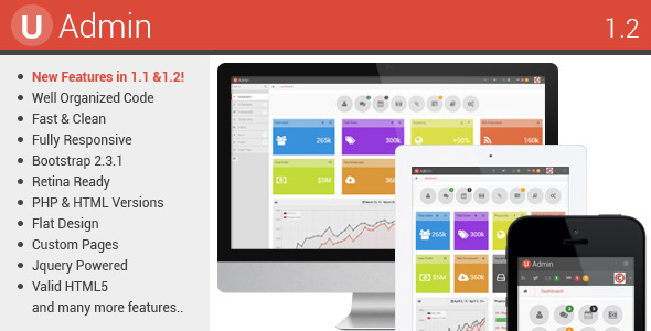 Templates UAdmin Responsive Admin Dashboard Template - Php dashboard template