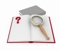 open book with aquestion mark and magnifying glass - PhotoDune Item for Sale