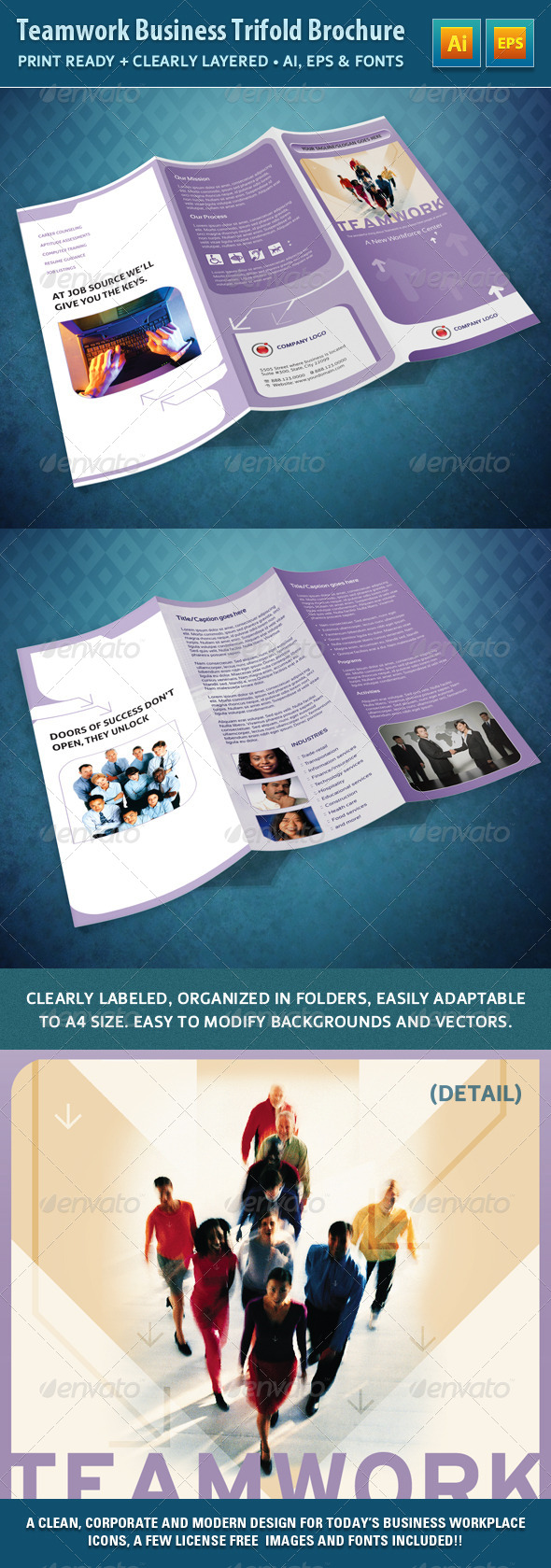 GraphicRiver Teamwork Business Trifold Brochure 4574460