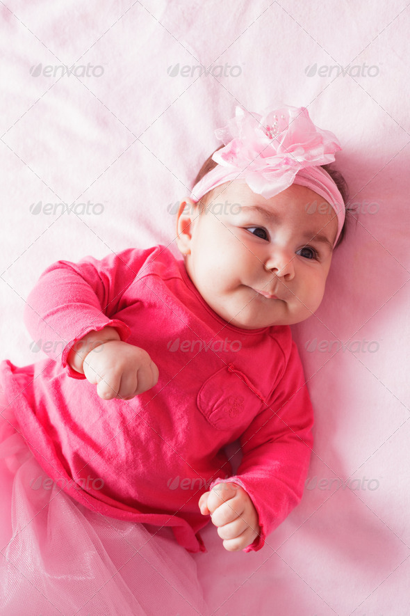 baby in pink tutu - Stock Photo - Images
