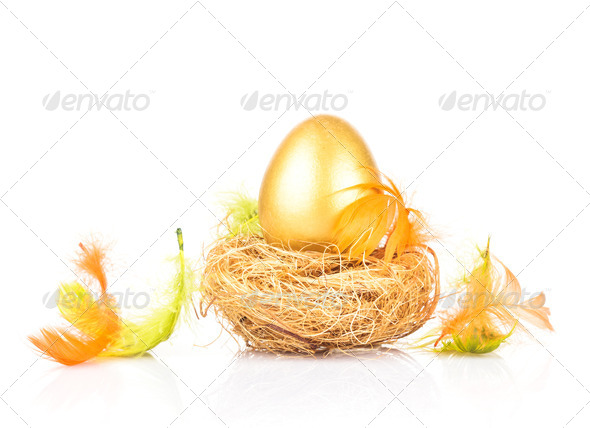golden egg in nest - Stock Photo - Images