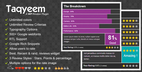 CodeCanyon Taqyeem WordPress Review Plugin 4558799