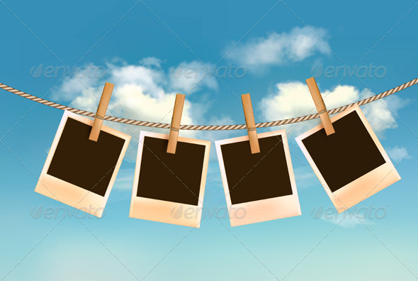 GraphicRiver Retro photos hanging on a rope 4575265