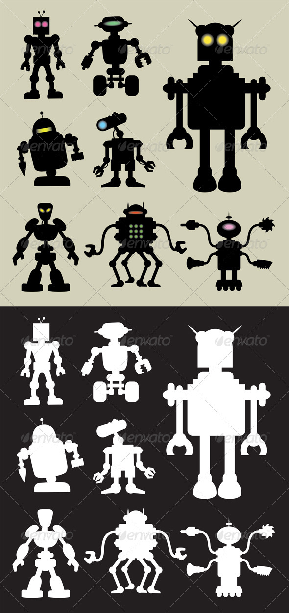 Robot Silhouettes - Characters Vectors