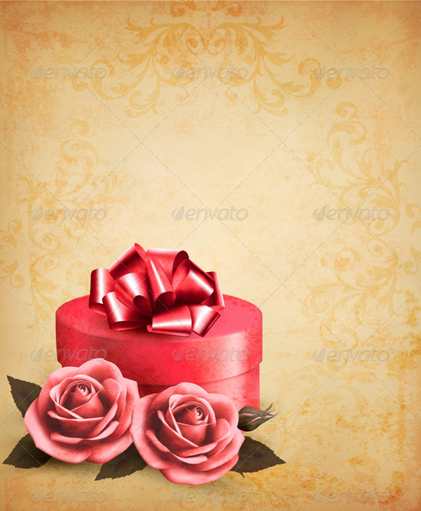 GraphicRiver Retro Background with Beautiful Red Roses and Box 4575354