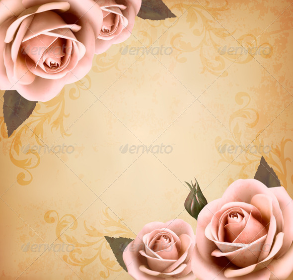 GraphicRiver Retro Background with Pink Roses 4575360