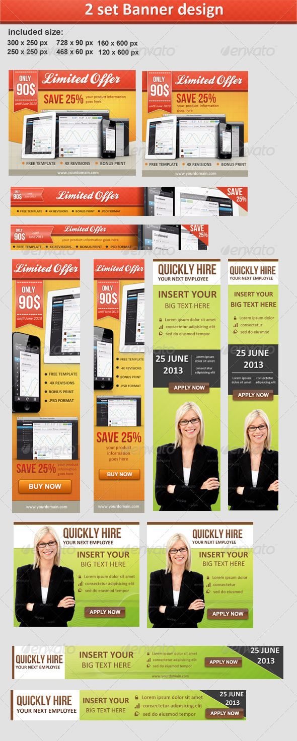 GraphicRiver 2 Banner Sets 4530955
